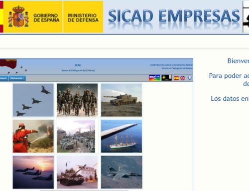 Modificación datos SICAD NCAGE 480BB Ministerio de Defensa.